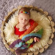 baby props newborn photography baby knit rainbow mohair wrap backdrop blanket