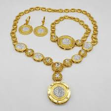 african necklace earrings images Hot fashion wedding dubai africa nigeria african jewelry set gold jpg