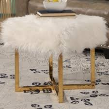 white faux fur stool wayfair