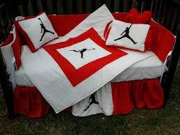 michael jordan red and white crib bedding set baby stuff