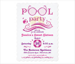 sweet 16 party invitation templates pool party invitation template