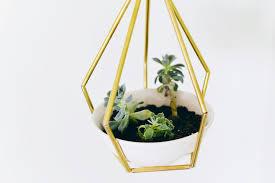 diy geometric metal tubing hanging planter decoration trend
