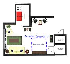 floor plan and furniture layout of a manhattan pied à terre joie