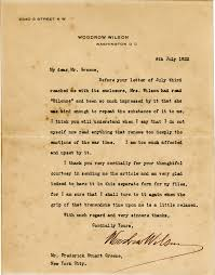 woodrow wilson letter on wwi after strokes shapell manuscript
