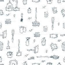 house cleaning seamless pattern background hand drawn doodle stock