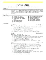 food service resume template guest service resume sle resume for restaurant server best