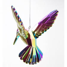gisela graham shades of peacock acrylic hummingbird christmas tree