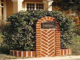 herringbone brick mailbox ideas with planters decorative