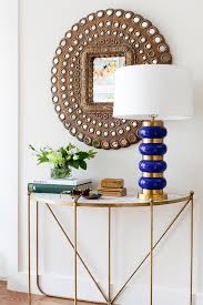 Half Moon Console Table Peacock Mirror With Demilune Marble And Brass Console Table