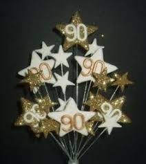 90th Birthday Centerpiece Ideas by Black Plastic Easel