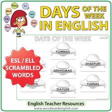 english days of the week u2013 ufo worksheet woodward english