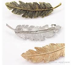 barrette hair 2017 fashion feather shaped hair barrette hair clip blank hairpin
