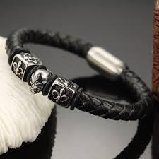 skull bracelet leather images Punk rock retro skull bracelet men cool stainless steel leather jpg
