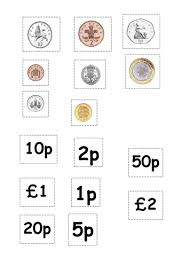 coin matching cut and stick activity by ruthbentham teaching