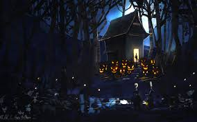 evil halloween background night forest pumpkin house happy halloween evil art moon wallpaper