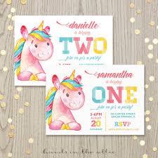 printable unicorn birthday party invitation first birthday