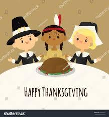 pilgrims american celebrate thanksgiving feast stock vector