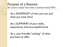 Statement Of Purpose Resume Resume Writing Today U0027s Workshop Will Include Purpose Of A Resume