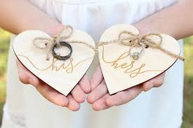 Wedding Ring Holder his and hers wedding ring holders ring bearer ring holder engraved