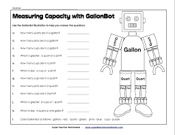 Gallon Worksheet Measuring Capacity With Gallonbot W13 Cycle 1 Science Math