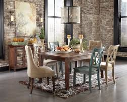 dining room rustic table and chairs with elegant curtains using