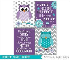 Nursery Owl Decor Purple Teal Nursery Owl Decor Baby