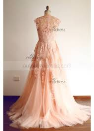 pink lace wedding dress a line v neckline sweep pink lace tulle wedding dress