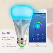 alexa controlled light bulbs sonoff b1 led bulb dimmer wifi smart remote control light bulbs wifi