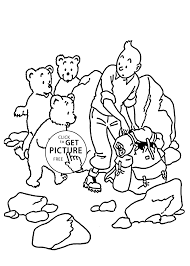 tintin with little bears coloring pages for kids printable free