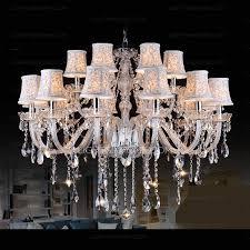 Modern Crystal Chandeliers Huge 18 Light Fabric Shade Twig Modern Crystal Chandeliers