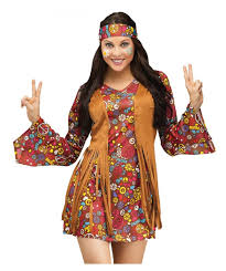 stunning 2 piece peace print hippie long sleeved costume