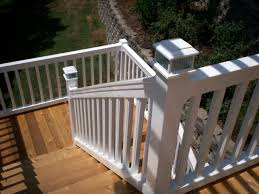 wood deck with composite railing ideas and vinyl decks st louis