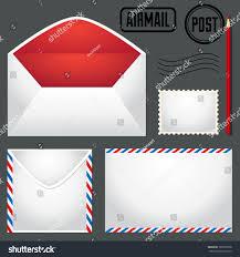 vector post set envelopes stamps pen stock vector 120231058