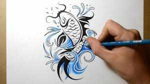 how to draw a koi fish tattoo design youtube