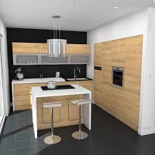 pour cuisine cuisine en bois sans poignée ipoma chêne naturel cuisine