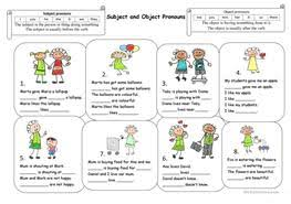 free esl object pronouns worksheets with subject and object pronouns from enislcollectivecom