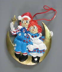 109 15488 raggedy and andy crescent moon ornament