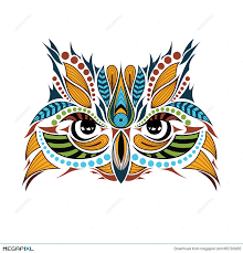 patterned colored head of the owl african indian totem