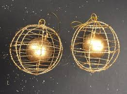 2pc gold baubles wire mesh ball xmas christmas hanging tree