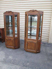 Curio Cabinets Pair Wooden Antique China Cabinets Ebay