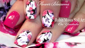 robin moses nail art spring flower bouquet nail art design