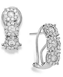 white gold huggie earrings diamond 1 ct t w cluster flower huggie earrings in 14k white