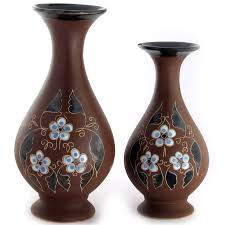set of ceramic souvenir handmade vases