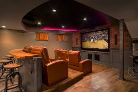 Basement Chair Rail - trendy home theater decorating ideas home theater traditional with