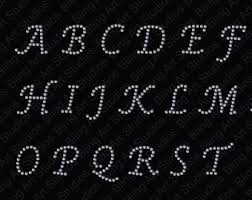rhinestone letter stickers cursive letters etsy