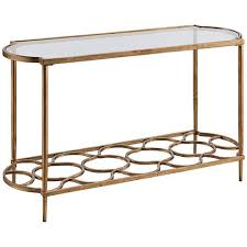 hammary mallory rectangular glass and nickel sofa table 2j534