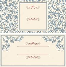 Cards Invitation Set Of Antique Greeting Cards Invitation With Victorian Ornamen
