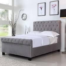 safina roll top kingsize sleigh bed frame in grey velvet
