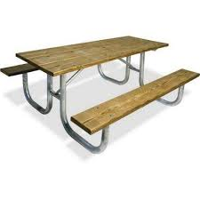 Park Bench And Table Picnic Tables Park Furnishings The Home Depot