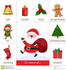 printable flash card for christmas set and santa claus stock